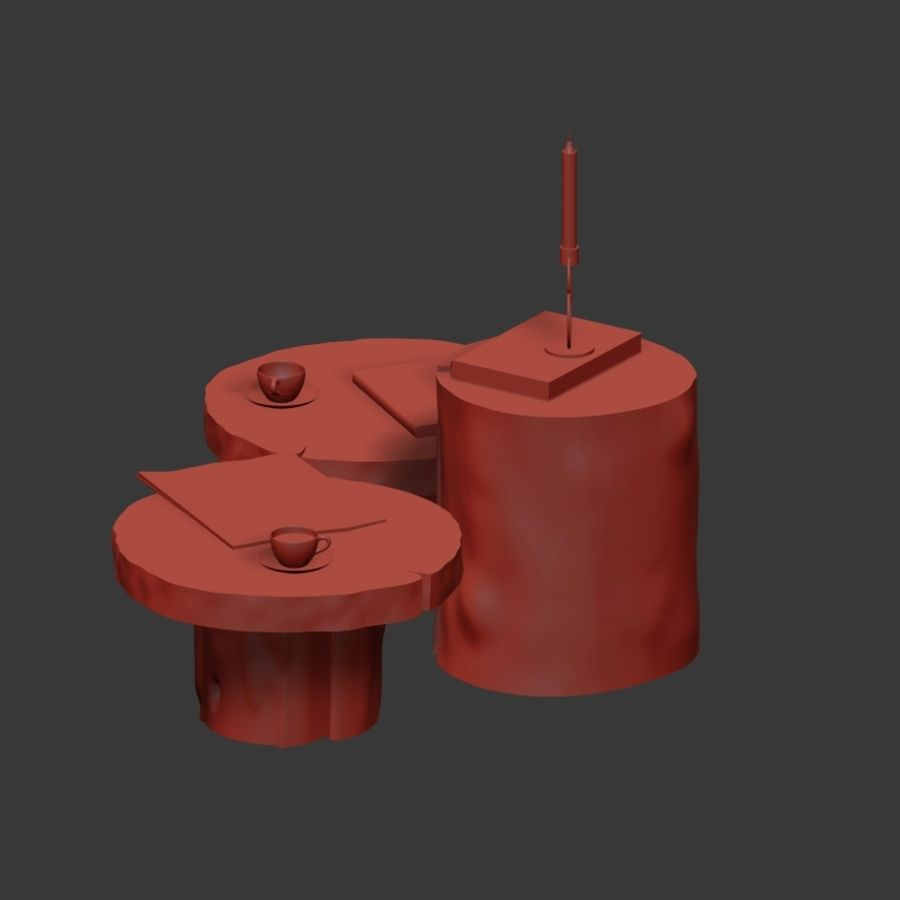 A set of dark tables from stumps and slab royalty-free 3d model - Preview no. 25