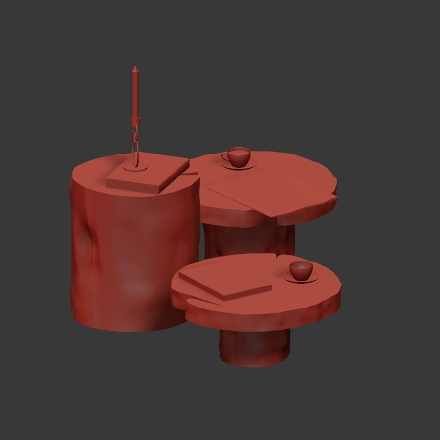 A set of dark tables from stumps and slab royalty-free 3d model - Preview no. 13