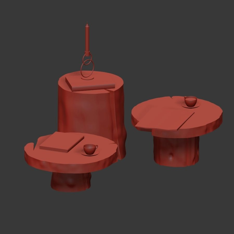 A set of dark tables from stumps and slab royalty-free 3d model - Preview no. 5
