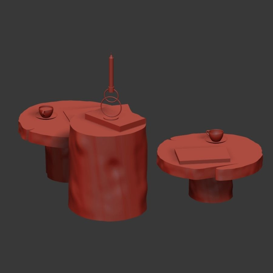 A set of dark tables from stumps and slab royalty-free 3d model - Preview no. 18