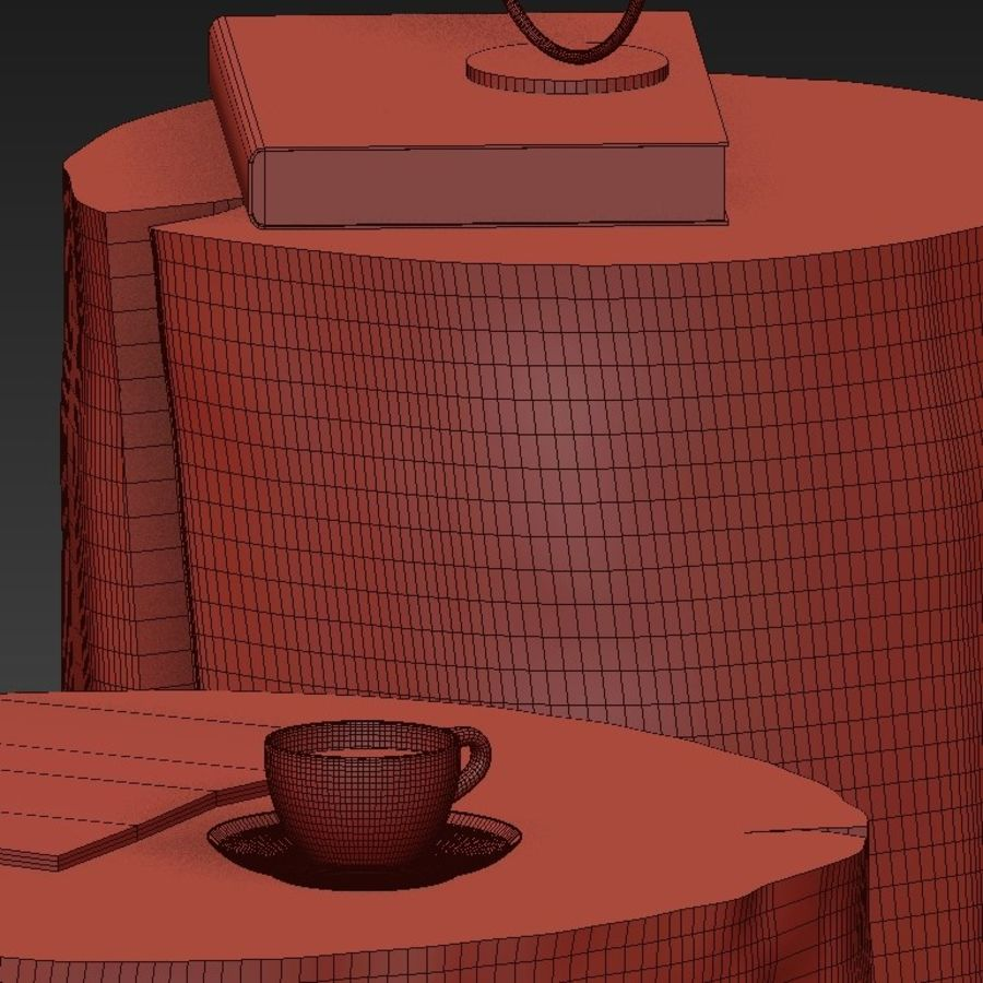A set of dark tables from stumps and slab royalty-free 3d model - Preview no. 46