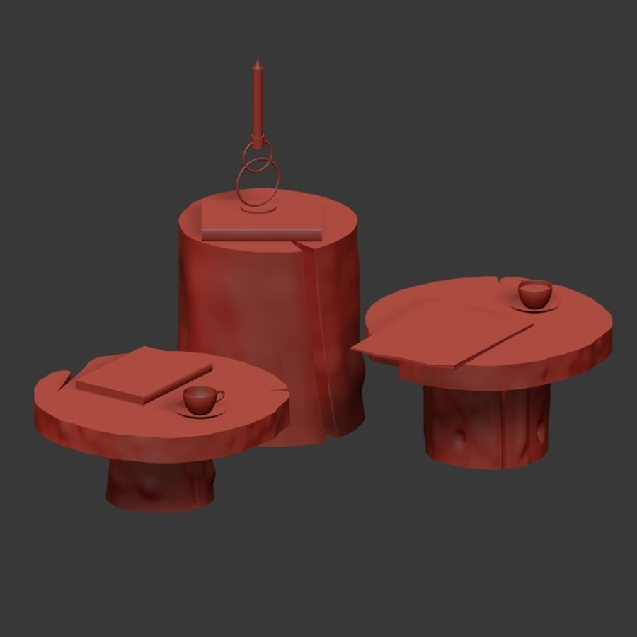A set of dark tables from stumps and slab royalty-free 3d model - Preview no. 36