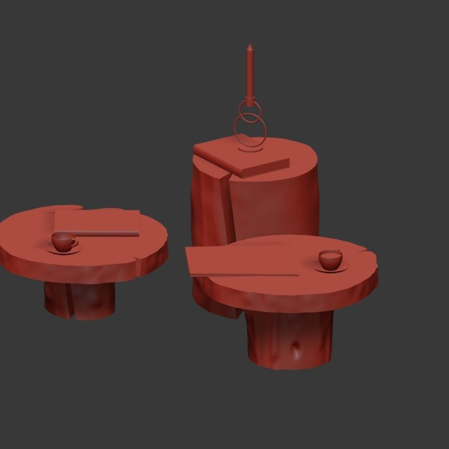 A set of dark tables from stumps and slab royalty-free 3d model - Preview no. 30
