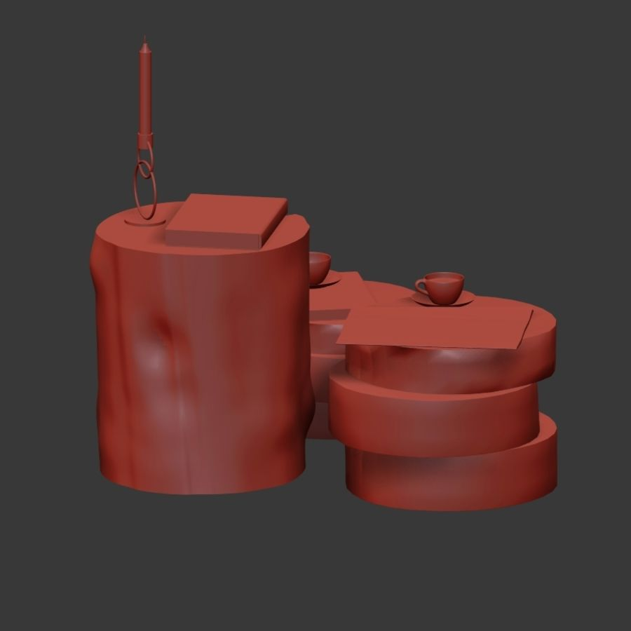 A collection of dark stump and slab tables royalty-free 3d model - Preview no. 17