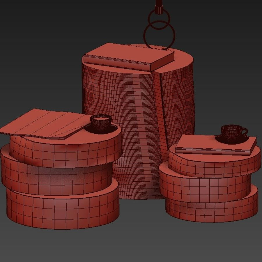 A collection of dark stump and slab tables royalty-free 3d model - Preview no. 41