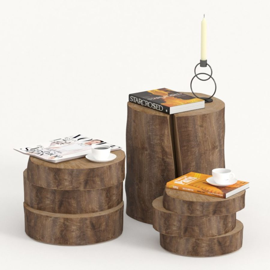 A collection of dark stump and slab tables royalty-free 3d model - Preview no. 1
