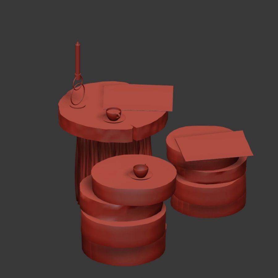 Stoliki kawowe z płyty i gałęzi royalty-free 3d model - Preview no. 13