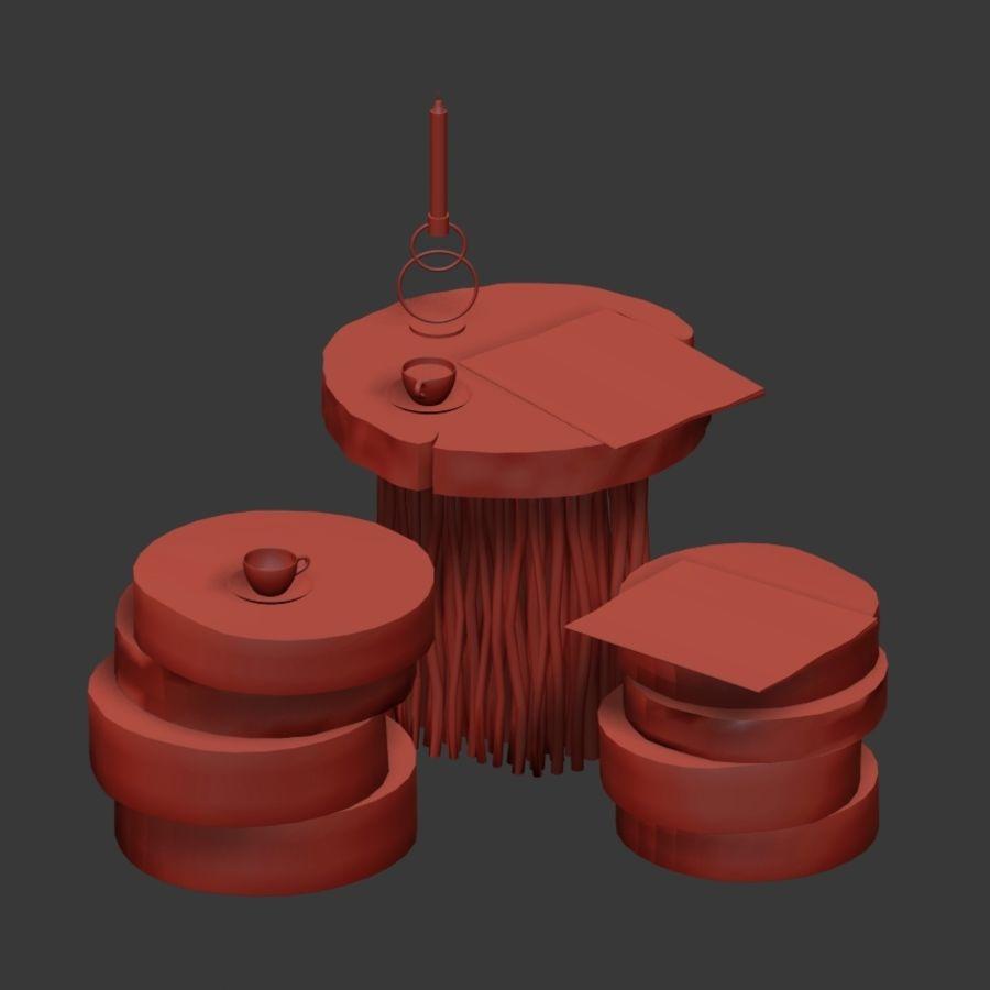 Stoliki kawowe z płyty i gałęzi royalty-free 3d model - Preview no. 7