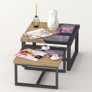 方形咖啡平板和环氧树脂茶几 3d model