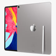 Silver iPad Pro 2019 3d model