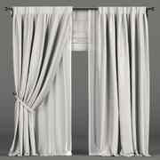 Tende bianche sullo sfondo con tulle e tenda romana 3d model