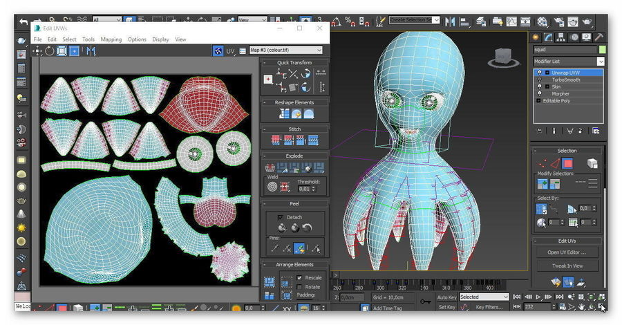 cartoon squid royalty-free 3d model - Preview no. 11