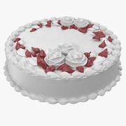 Pastel de crema de rosas y crema de mantequilla modelo 3d