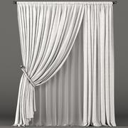 Cortinas brancas com punho de corda e tule branco 3d model
