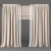 Beige Vorhänge mit weißem Tüll und Raffrollos 3d model