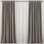 Brown curtains with white tulle 3d model