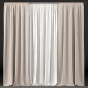 白と茶色のチュールのカーテン 3d model