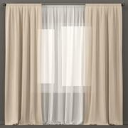白とベージュのチュールのカーテン 3d model
