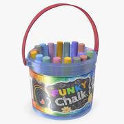 Coloured Chalk Bucket 3D Model 3d model