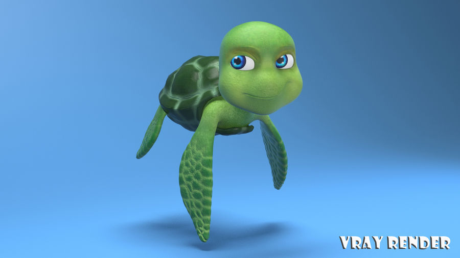 cartoon sea turtle royalty-free 3d model - Preview no. 9