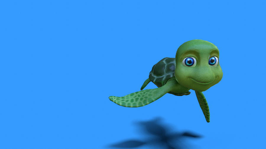cartoon sea turtle royalty-free 3d model - Preview no. 1
