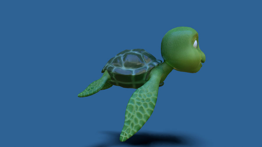 cartoon sea turtle royalty-free 3d model - Preview no. 3