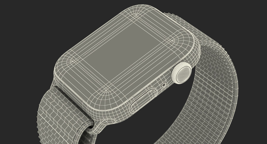 Seashell 스포츠 루프가 장착 된 화이트 Apple Watch royalty-free 3d model - Preview no. 46