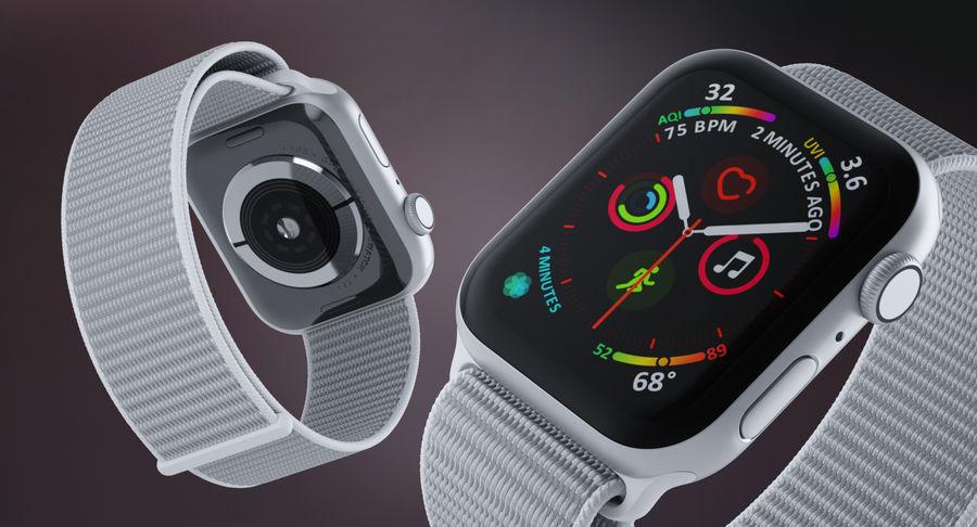 Seashell 스포츠 루프가 장착 된 화이트 Apple Watch royalty-free 3d model - Preview no. 7