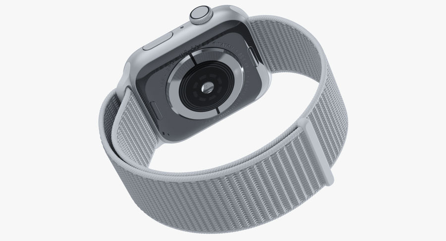 Seashell 스포츠 루프가 장착 된 화이트 Apple Watch royalty-free 3d model - Preview no. 27