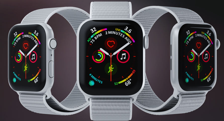 Seashell 스포츠 루프가 장착 된 화이트 Apple Watch royalty-free 3d model - Preview no. 5