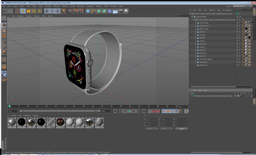 Seashell 스포츠 루프가 장착 된 화이트 Apple Watch royalty-free 3d model - Preview no. 36