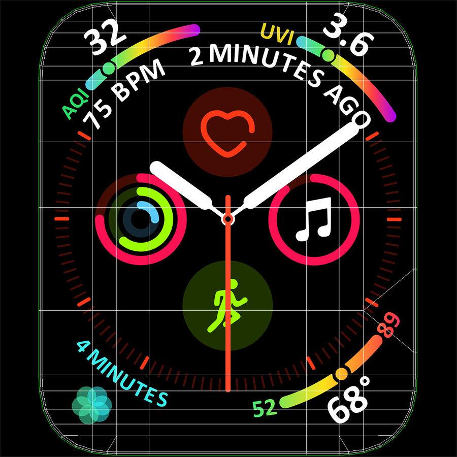 Seashell 스포츠 루프가 장착 된 화이트 Apple Watch royalty-free 3d model - Preview no. 31