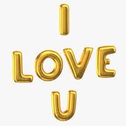 Złote balony foliowe słowa I Love You 3d model