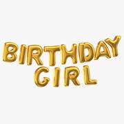 Golden Foil Balloons Words Birthday Girl 3d model