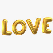 Balões de folha dourada palavras amor 3d model