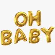 Goldene Folienballons Wörter Oh Baby 3d model