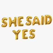 Goldene Folie steigt Wörter im Ballon auf, die sie JA sagte 3d model