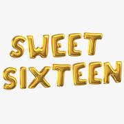 Złote balony foliowe słowa Sweet Sixteen 3d model