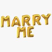 Goldene Folien-Ballon-Wörter heiraten mich 3d model