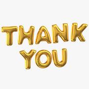 Złote balony foliowe słowa dziękuję 3d model
