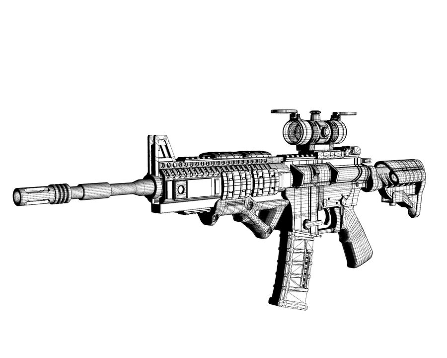 assault rifle royalty-free 3d model - Preview no. 14