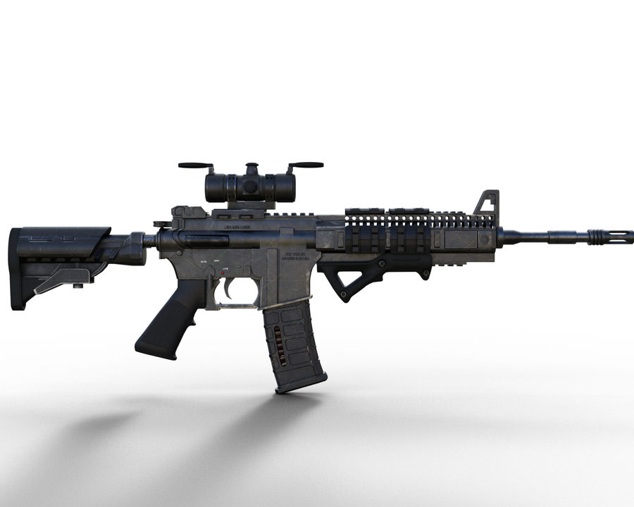 assault rifle royalty-free 3d model - Preview no. 6
