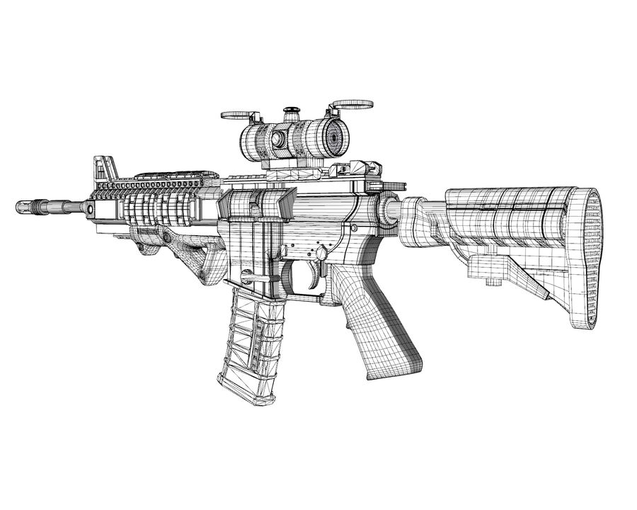 assault rifle royalty-free 3d model - Preview no. 17