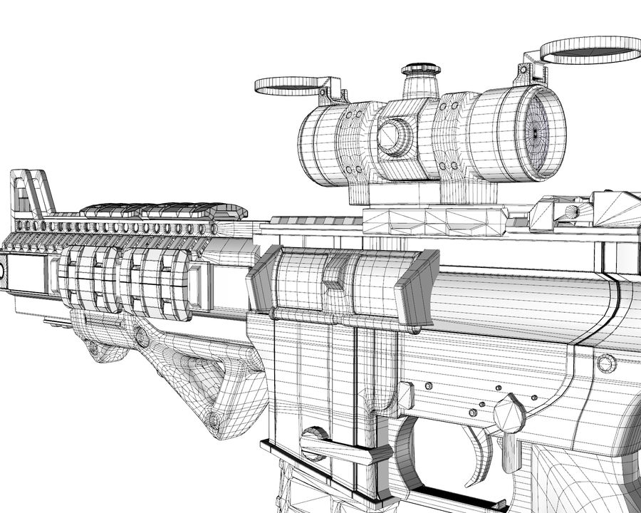 assault rifle royalty-free 3d model - Preview no. 18