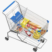 Shopping Cart With Goods 3d model