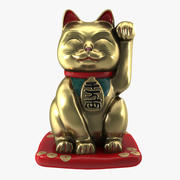 Maneki Neko Gold Japan Cat PBR modelo 3d