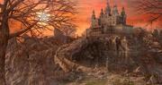 Закат Замок Окружающая среда 3d model