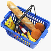 Shopping Basket With Goods 3d model