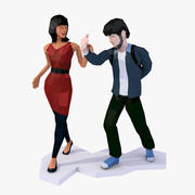 Casual Couple LowPoly Rigged(1) 3d model