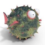 Blowfish cartoon puffer fish 3d model
